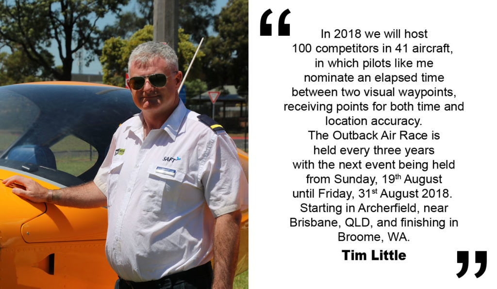 "Tim Little, a pilot for the ""Outback Air Race"" who raise money for the RFDS."